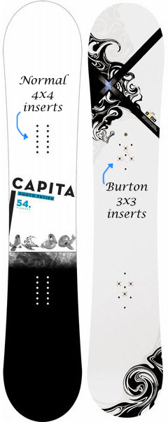 Burton 3x3 and normal 4x4 snowboard inserts