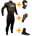 Freezing water temperature 5/4/3 wetsuit, booties, gloves and hood