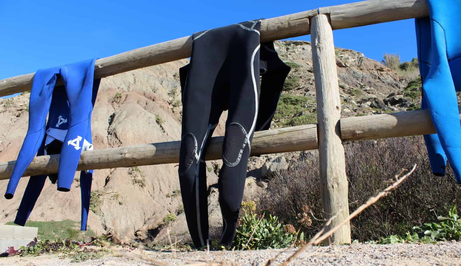 Wetsuit drying in the sun