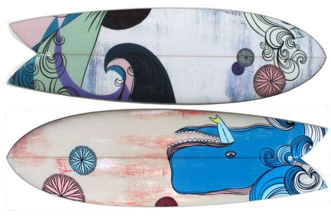Ocean themed spray paint surfboard art