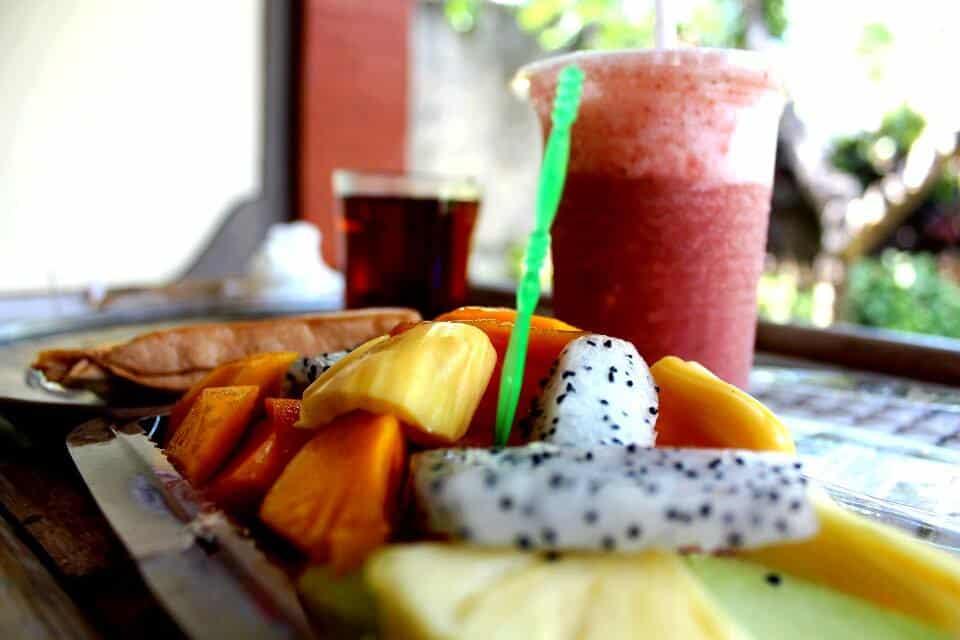 Bali breakfast: tea, banana jaffle, fruit salad, juice