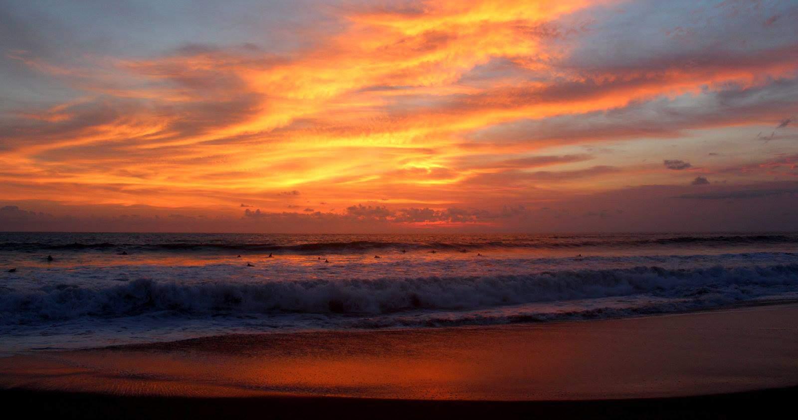 Epic Bali surfing sunset on Brawa beach