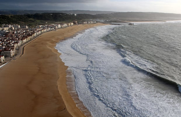 Nazare beach and waves