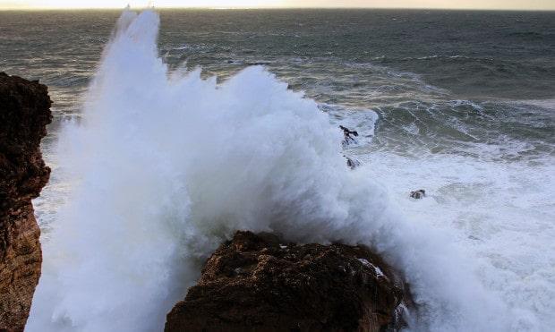 Ocean spray off the rock.
