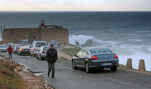 People visiting the big wave beach in Nazare