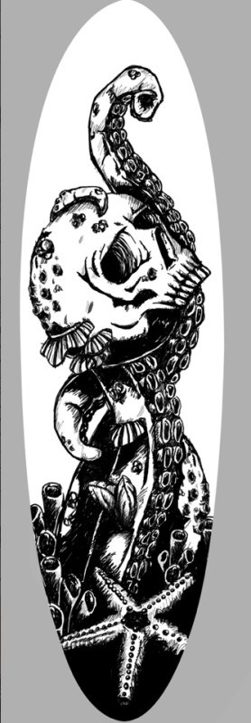 Octopuss eating a skull surfboard design