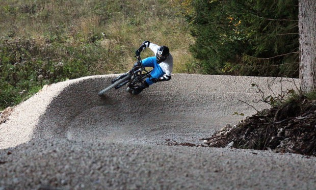 Biker taking a high line.