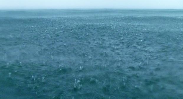 rain falling into the sea