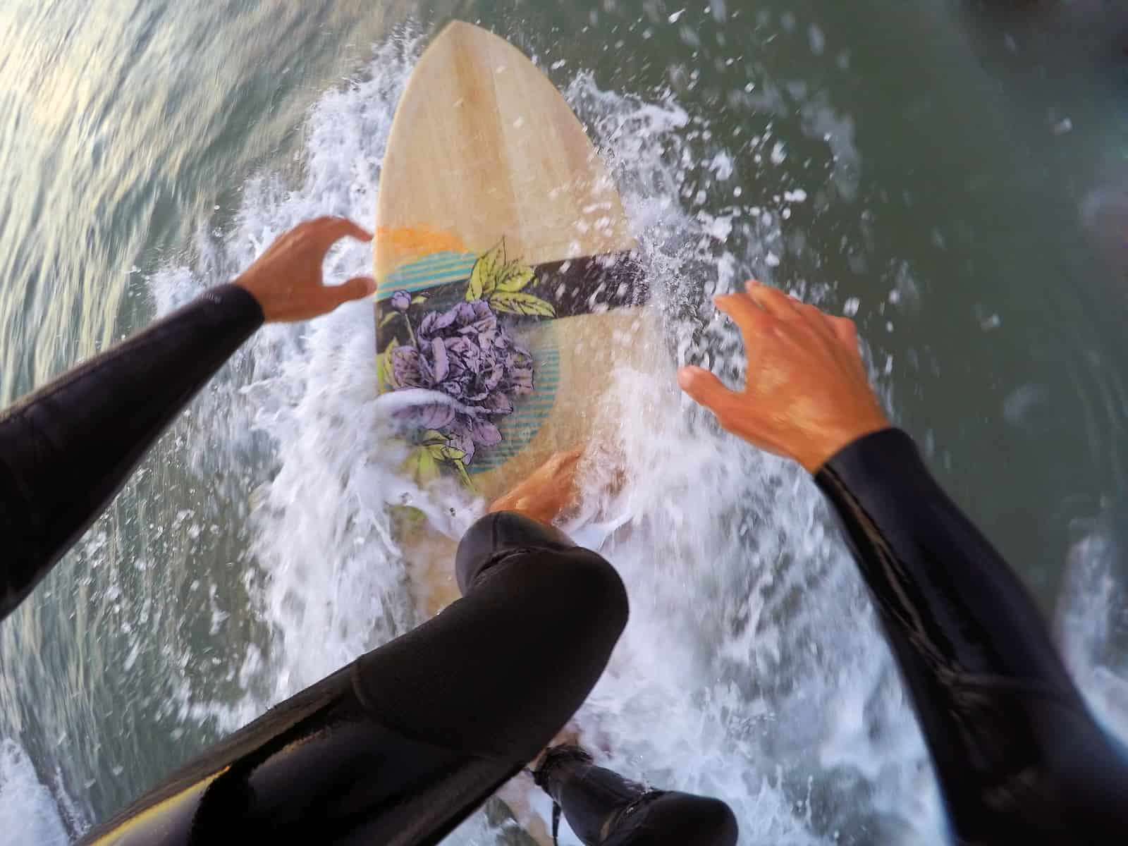 Testing my friends hollow wooden surfboard