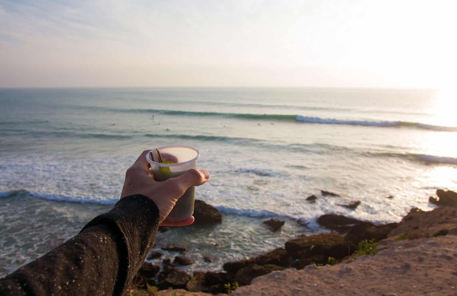 Sugar saturated mint tea is the post surf session beer of Morocco. Cheers Tamraght.