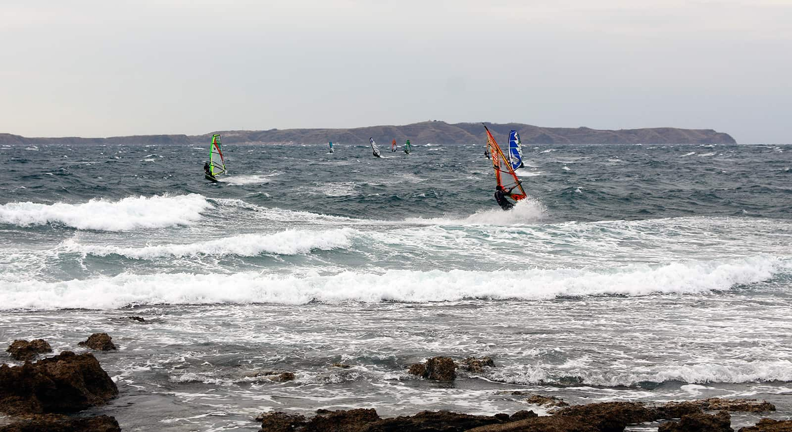 Usually sharing a spot with windsurfers is not a good sign.