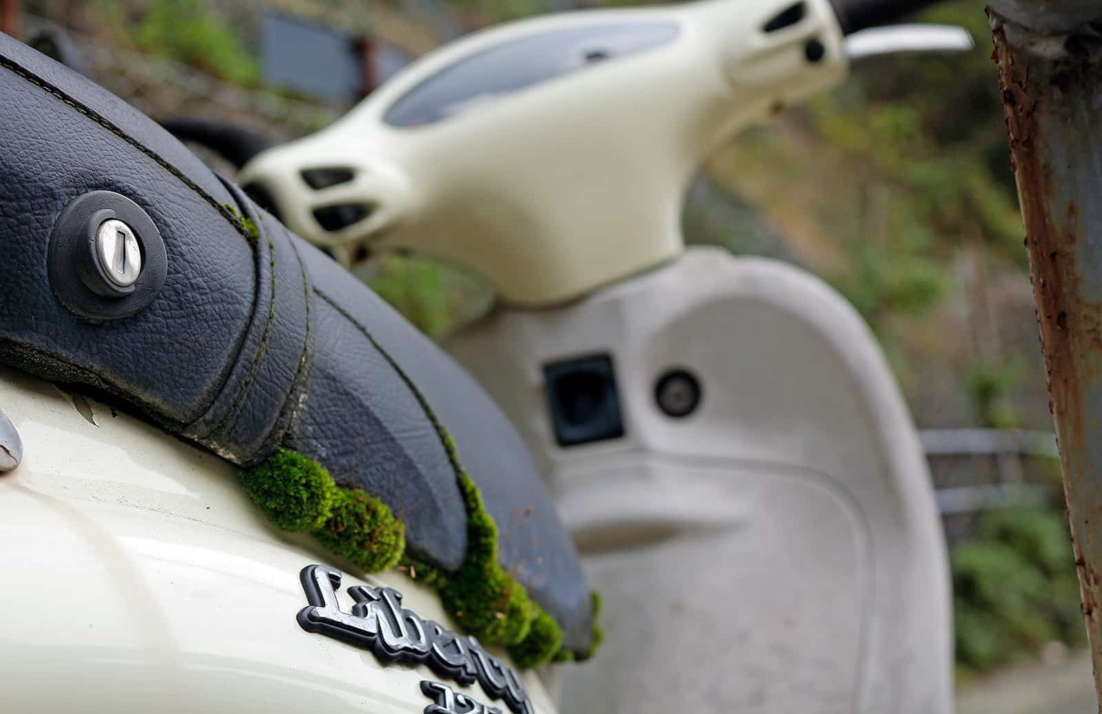 This Vespa is either very eco or someone is smuggling something under the seat and it desperately wants to get out.