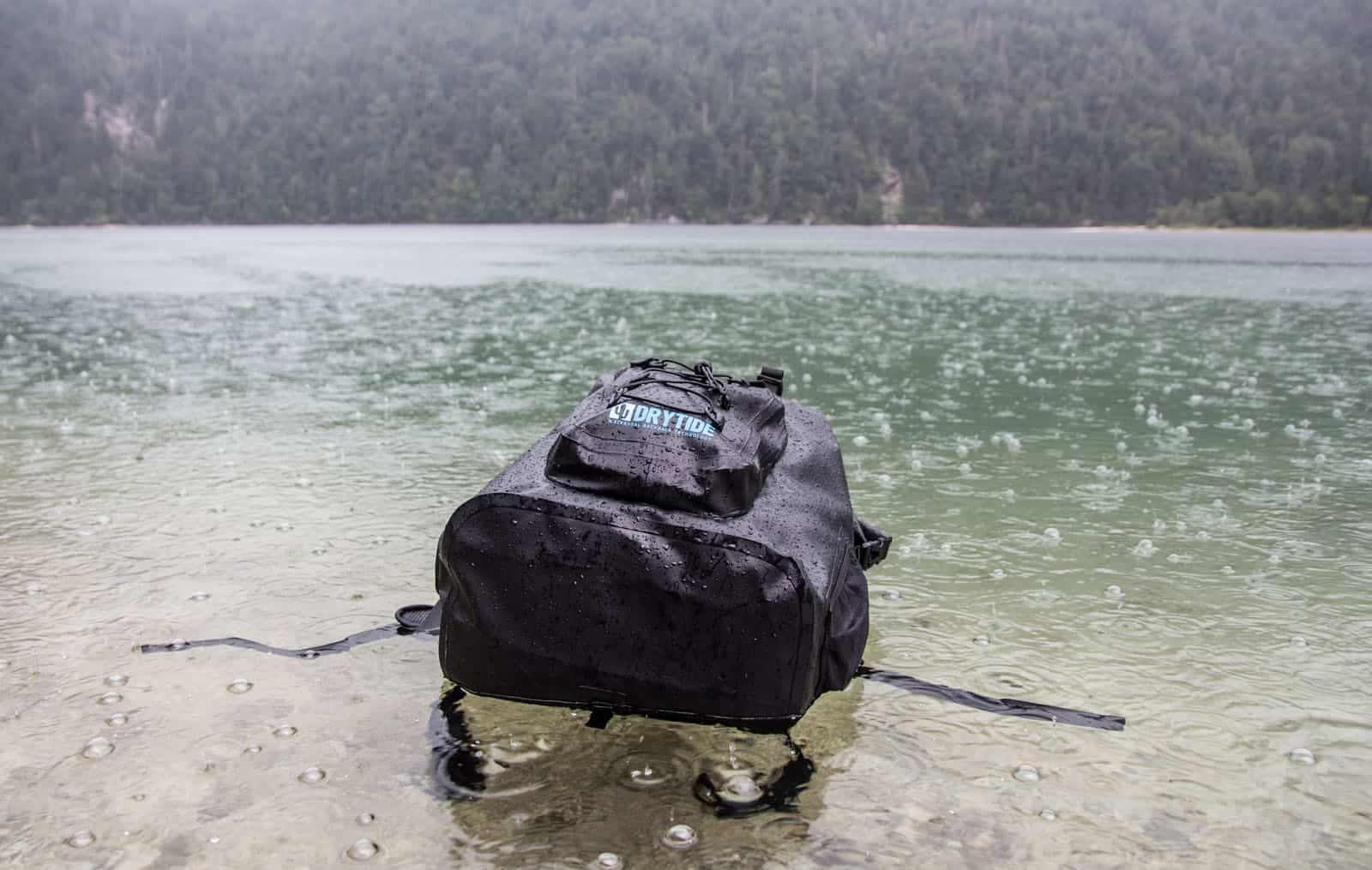 DryTide backpack is a backpack that you can literally throw into the water and all your stuff inside will stay safe and dry.